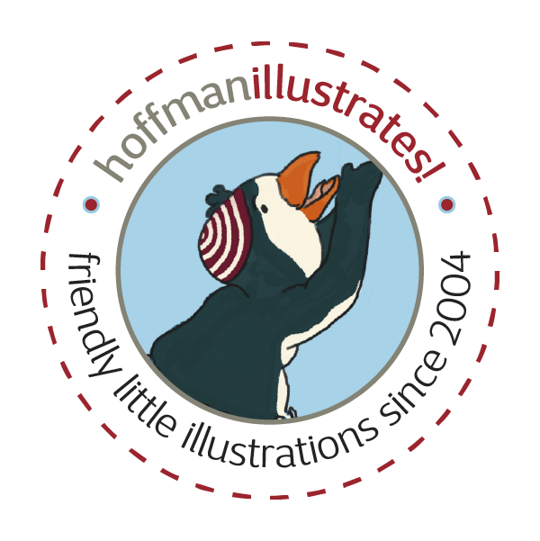 """This is my signet containing a penguin in a red striped cap who is facing towards the right. His wings are reaching upwards and are just under his beak. I developed this signet from an illustration of a story """"Ping and Urmel"""". The penguin is in a circle which is surrounded by my logotype """"hoffmanillustrates!"""" and """"friendly little illustrations since 2004"""""""
