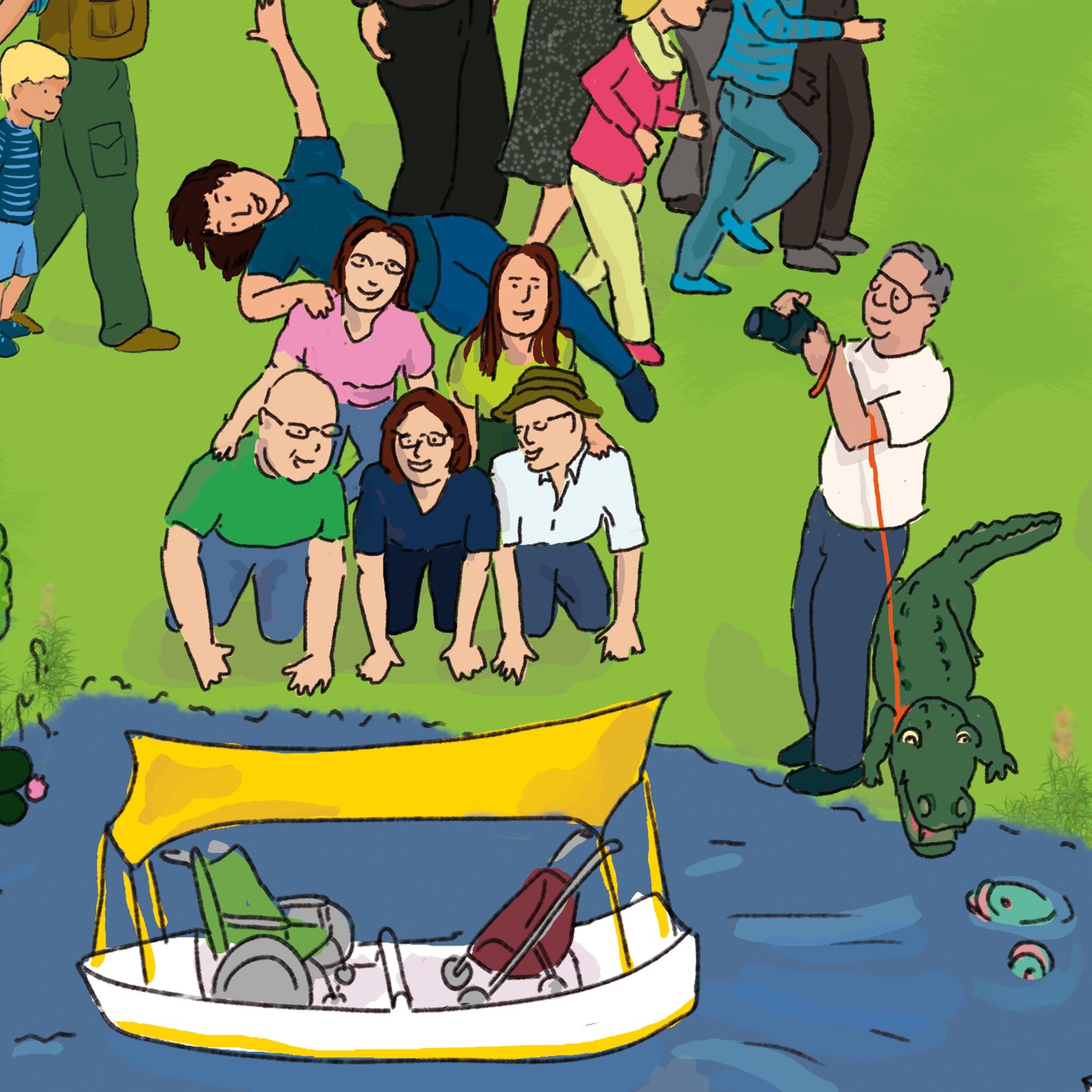 """Das Beste zum Schluss: Dies ist ein Ausschnitt aus meinem Wimmelbuch """"Mannheim wimmelt"""". Es zeigt meine 5 Geschwister mit mir, wie wir einen menschlichen Pyramid bauen. Mein Vater steht daneben mit Ollie, dem Alligatoren, und knippst ein Foto mit einer SLR-Kamera.Die Szene findet im Luisenpark, Mannheim statt."""
