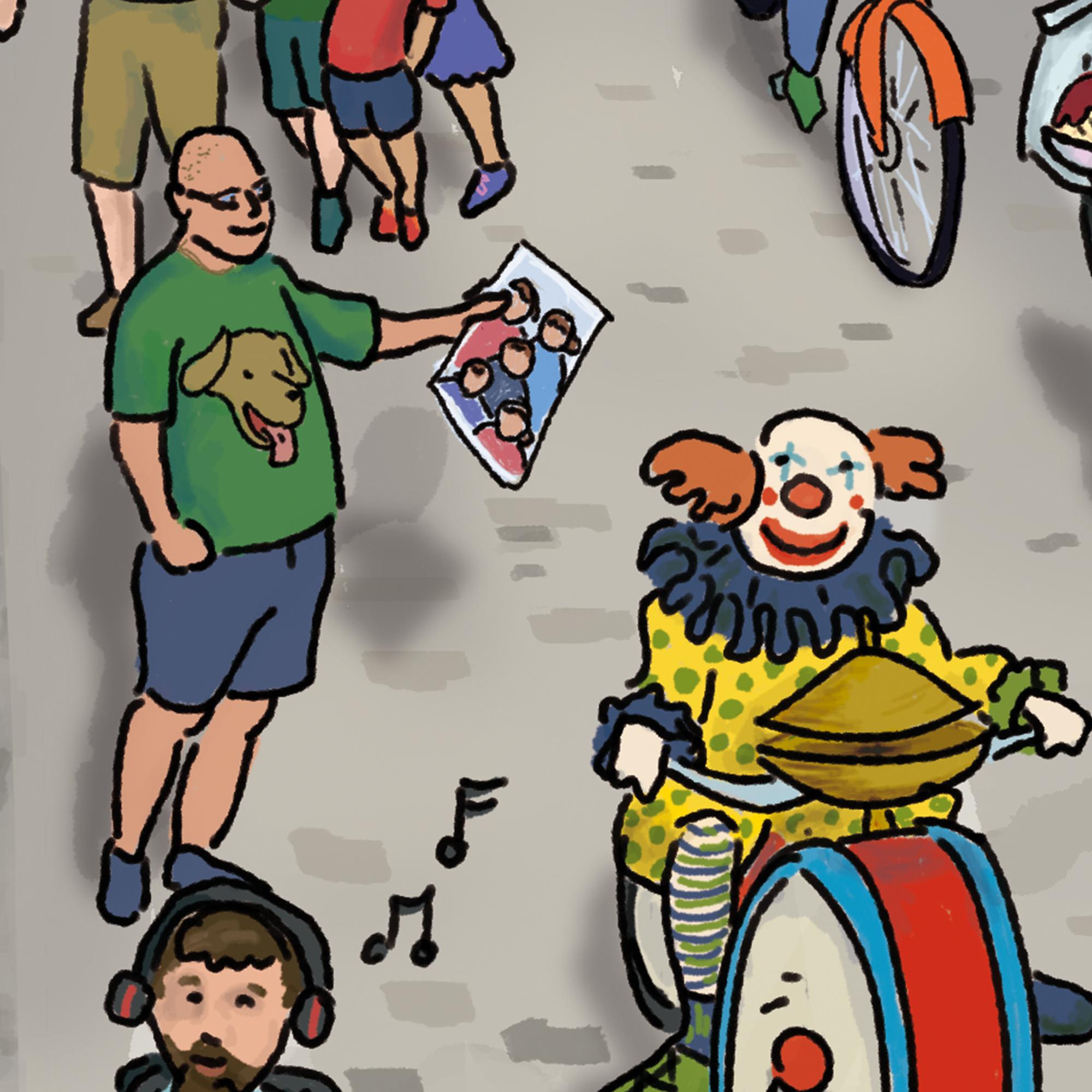 """Das Beste zum Schluss: Dies ist ein Ausschnitt von dem Cover meines Wimmelbuchs """"Mannheim wimmelt"""". Es zeigt mein großer Bruder, der ein grünes T-Shirt mit Hundemotiv trägt, mit einem Foto von mir und und meinen 4 Geschwistern. Scott wurde als Baby zur Adoption freigegeben. Er ist der älteste von uns und wir lernten erst sehr spät von seinem Existenz. Außer Scott sieht man einen Clown auf einem Fahrrad, das mit Musikinstrumente ausgestattet ist."""