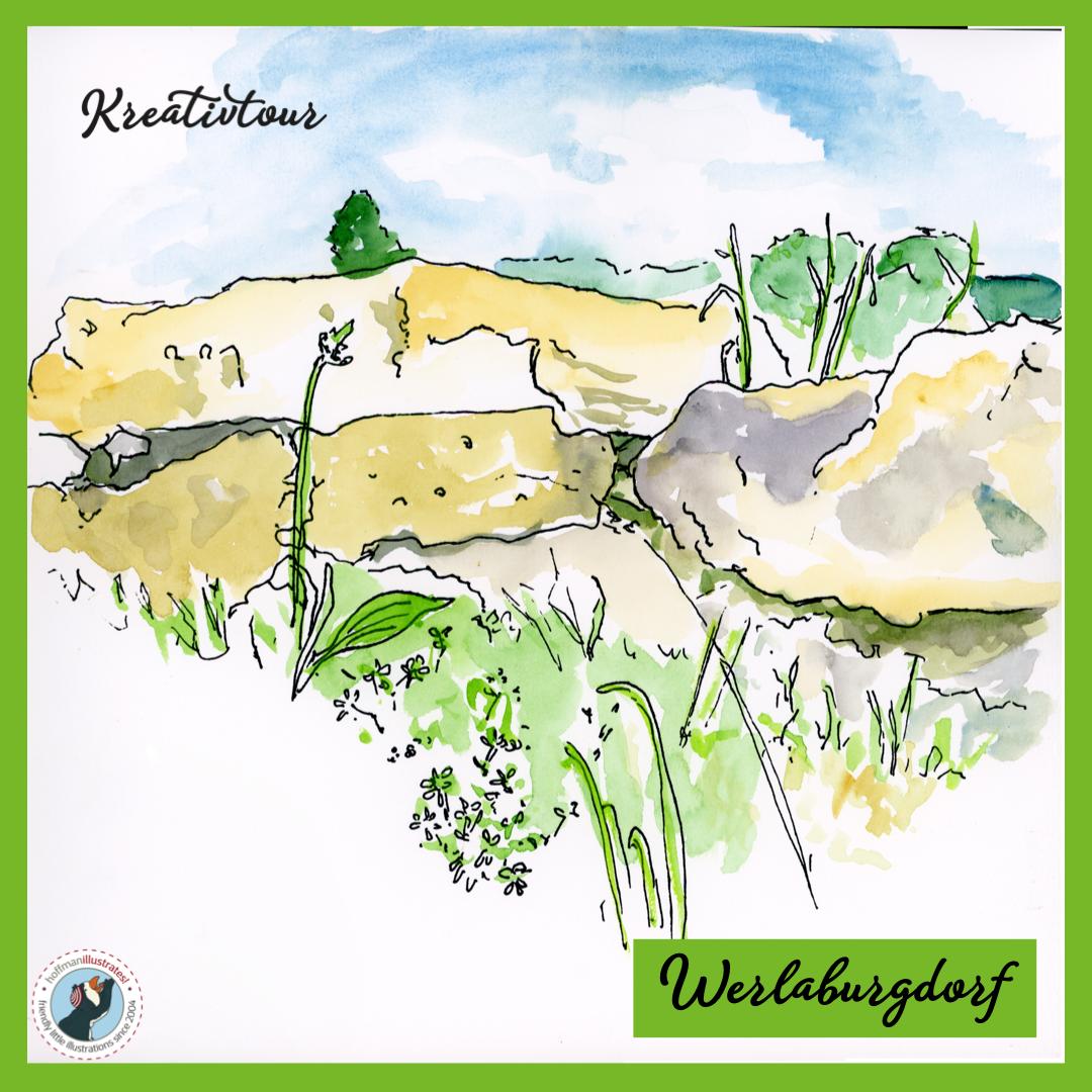 Kreativtour: Besuch der Werlagburgruinen. Aquarellskizze in Grün, Gelb und Blau