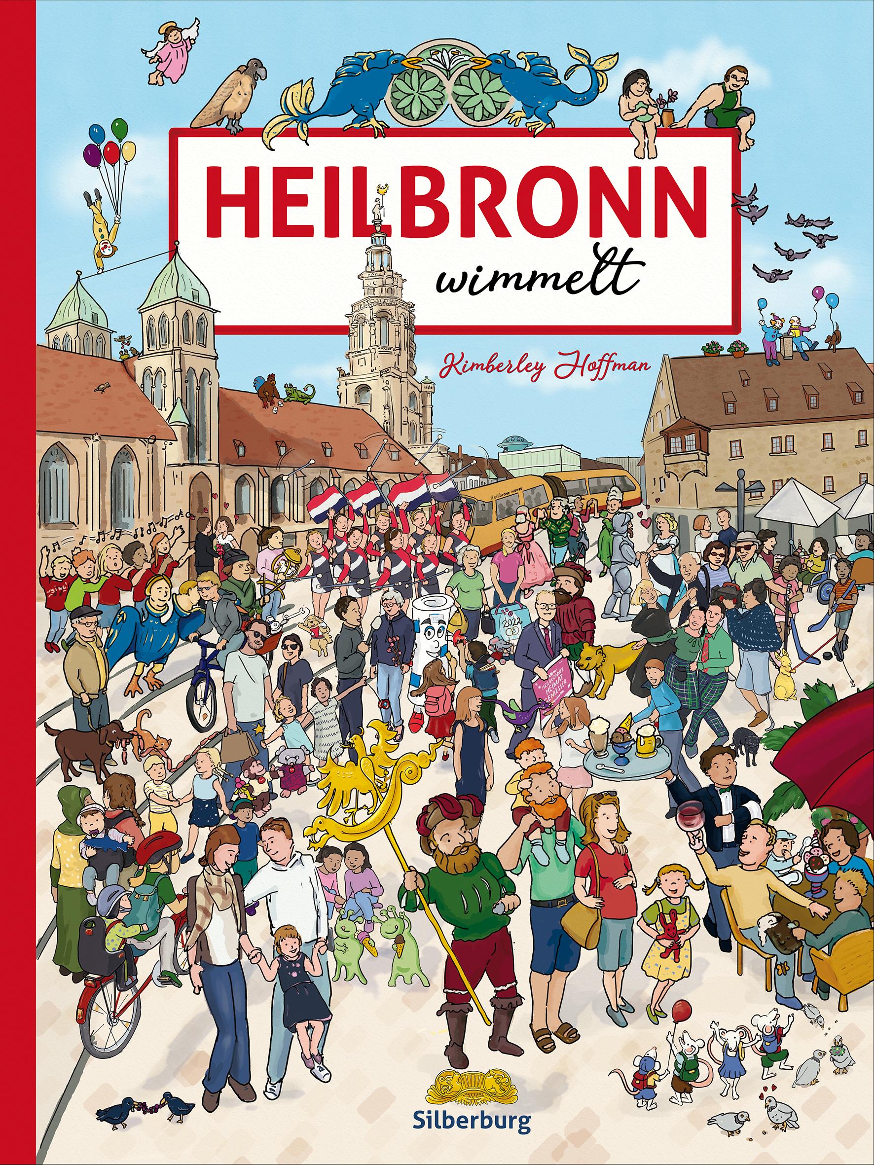 """Das Cover von """"Heilbronn wimmelt"""" . Es ist ein Wimmelbuch über Heilbronn, Deutschland"""