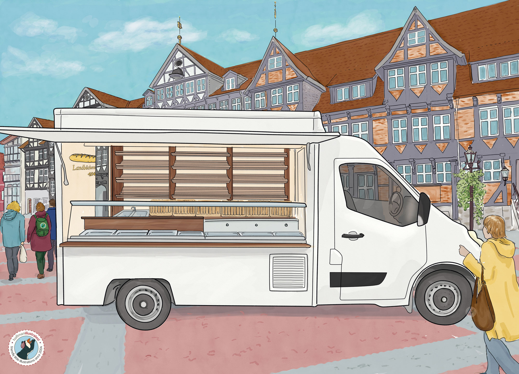 Illustration of a bakery truck Borco Hohns