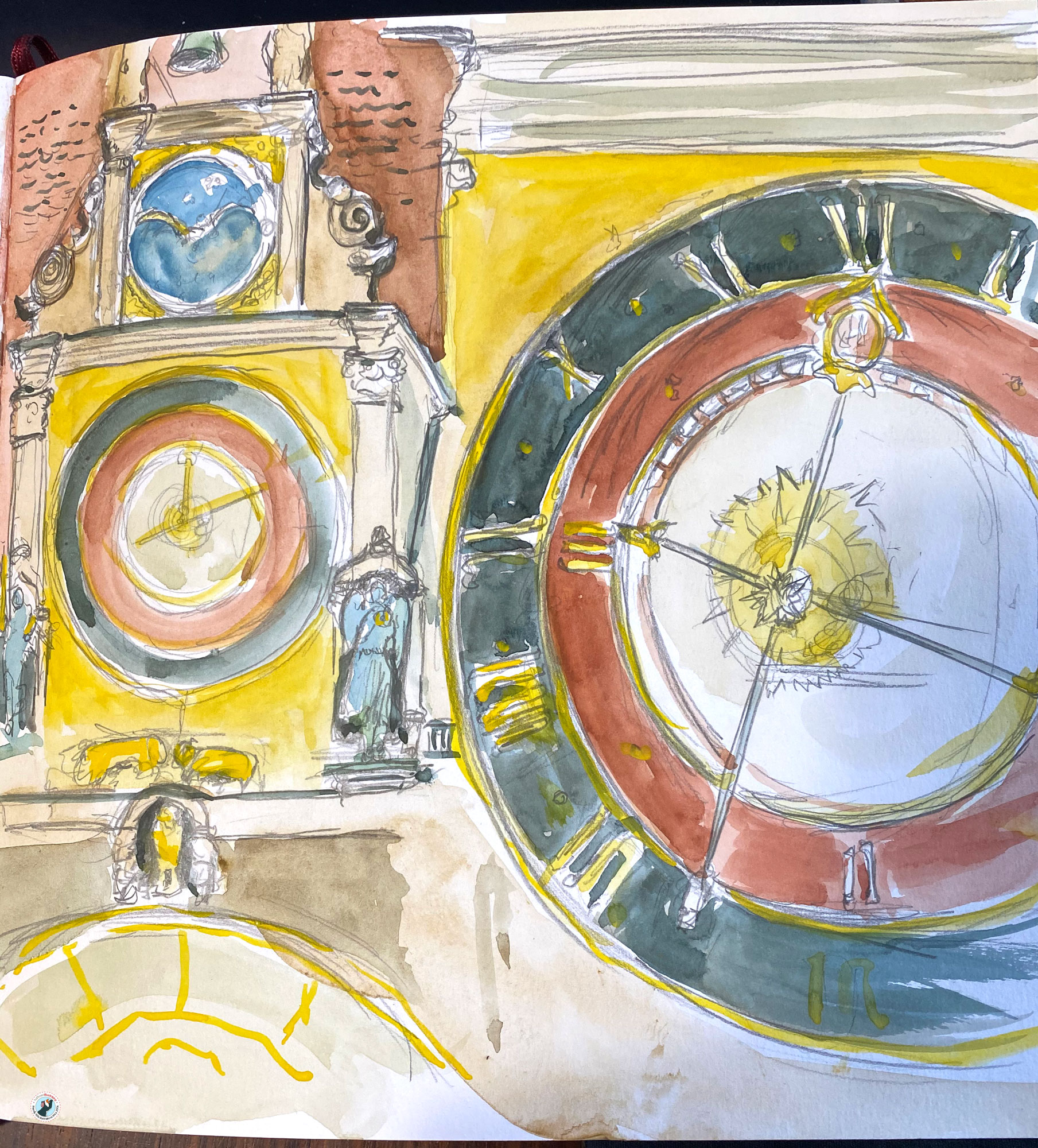 This is a watercolour urban sketch of the famous clock found on Heilbronn's Marketplace.