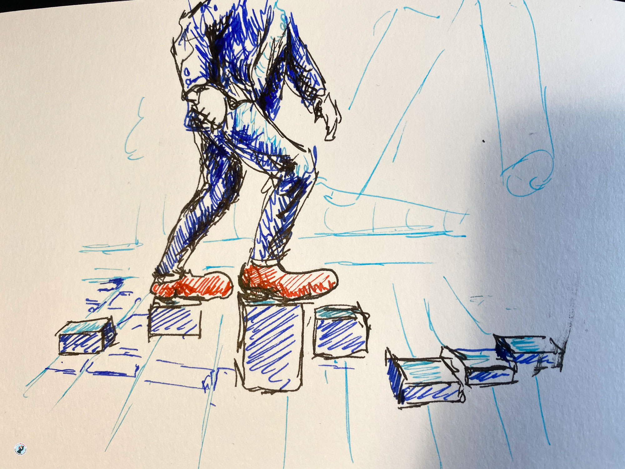 This rough coloured sketch shows a person walking a parcour in clown's shoes at the experimenta