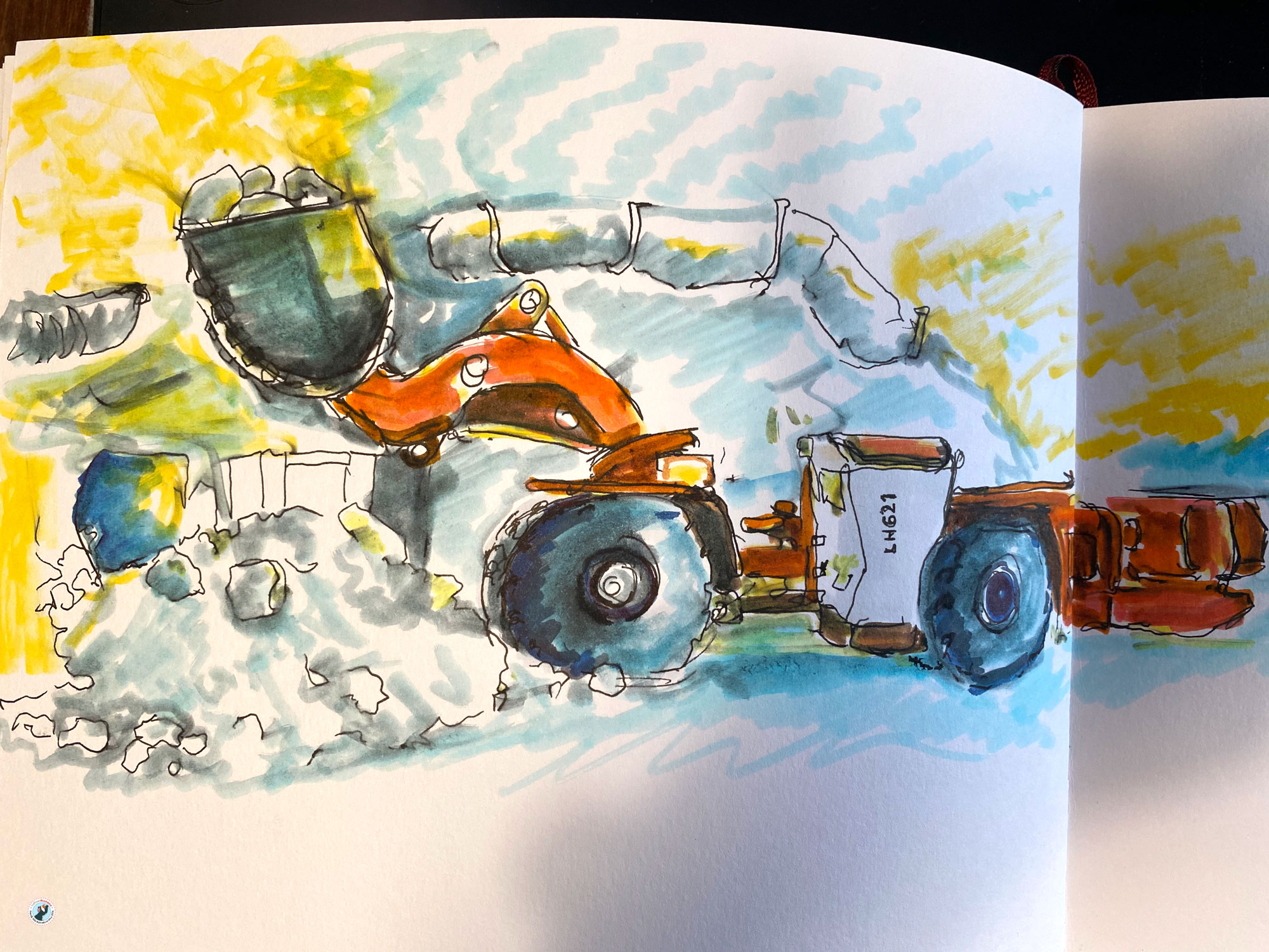 This is a coloured sketch of salt mine machinery based on a photo provided to me from the Heilbronn Salt Mines. It is an automated kind of underground bulldozer.