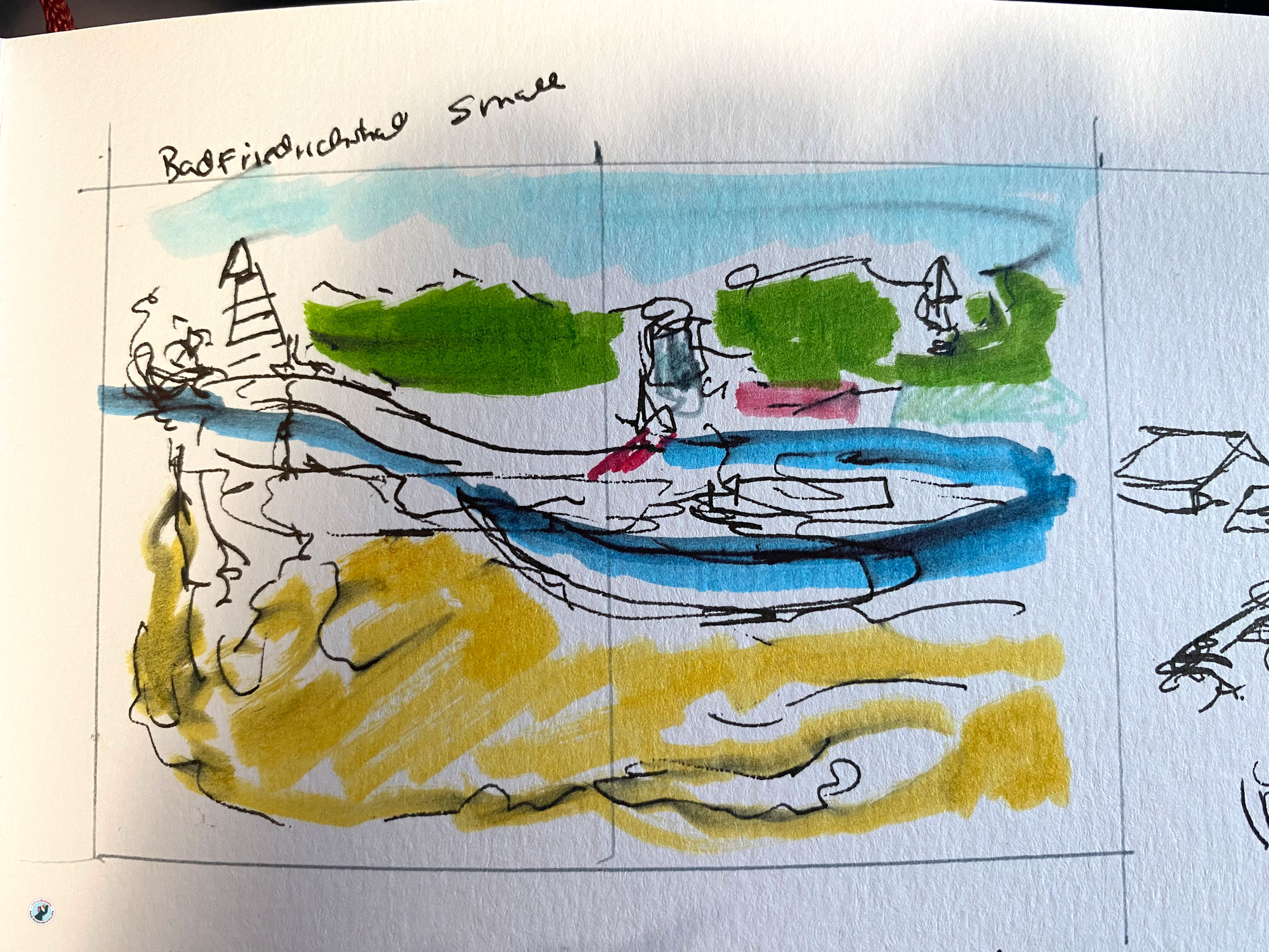 """This is a coloured thumbnail sketch of the double page """"Heilbronn Salt Mines"""" for my book """"Heilbronn wimmelt"""". It is just a few lines and squiggles, and is a starting point for layout development"""
