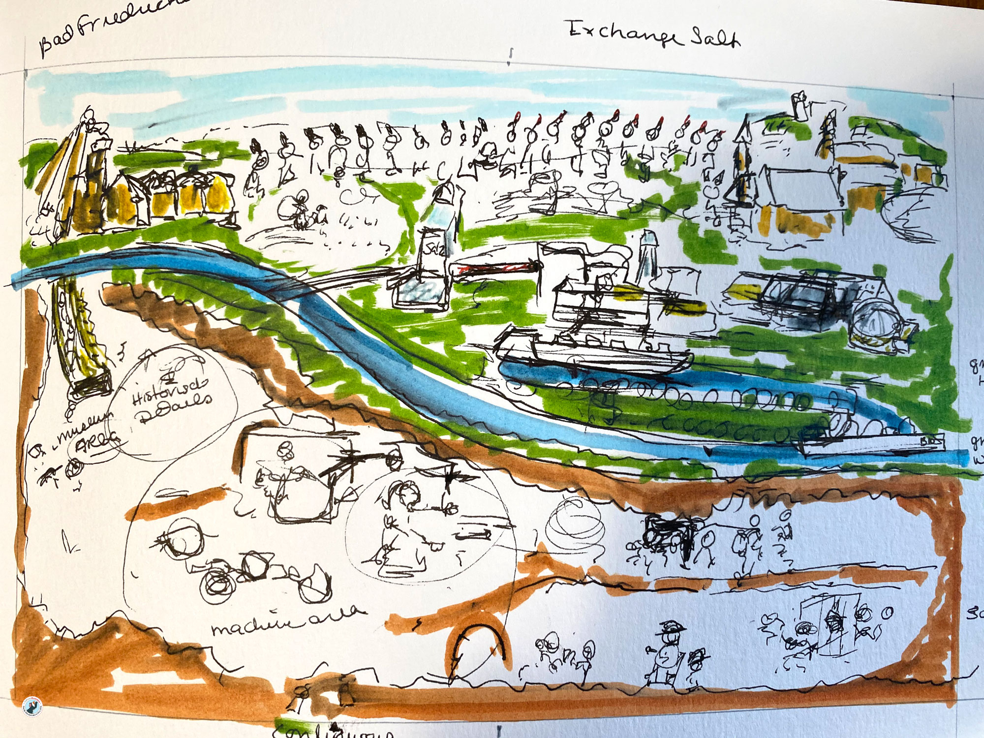 This is the second sketch I made to decide on how the salt mine double page should work. It is a messy layout sketch in marker..