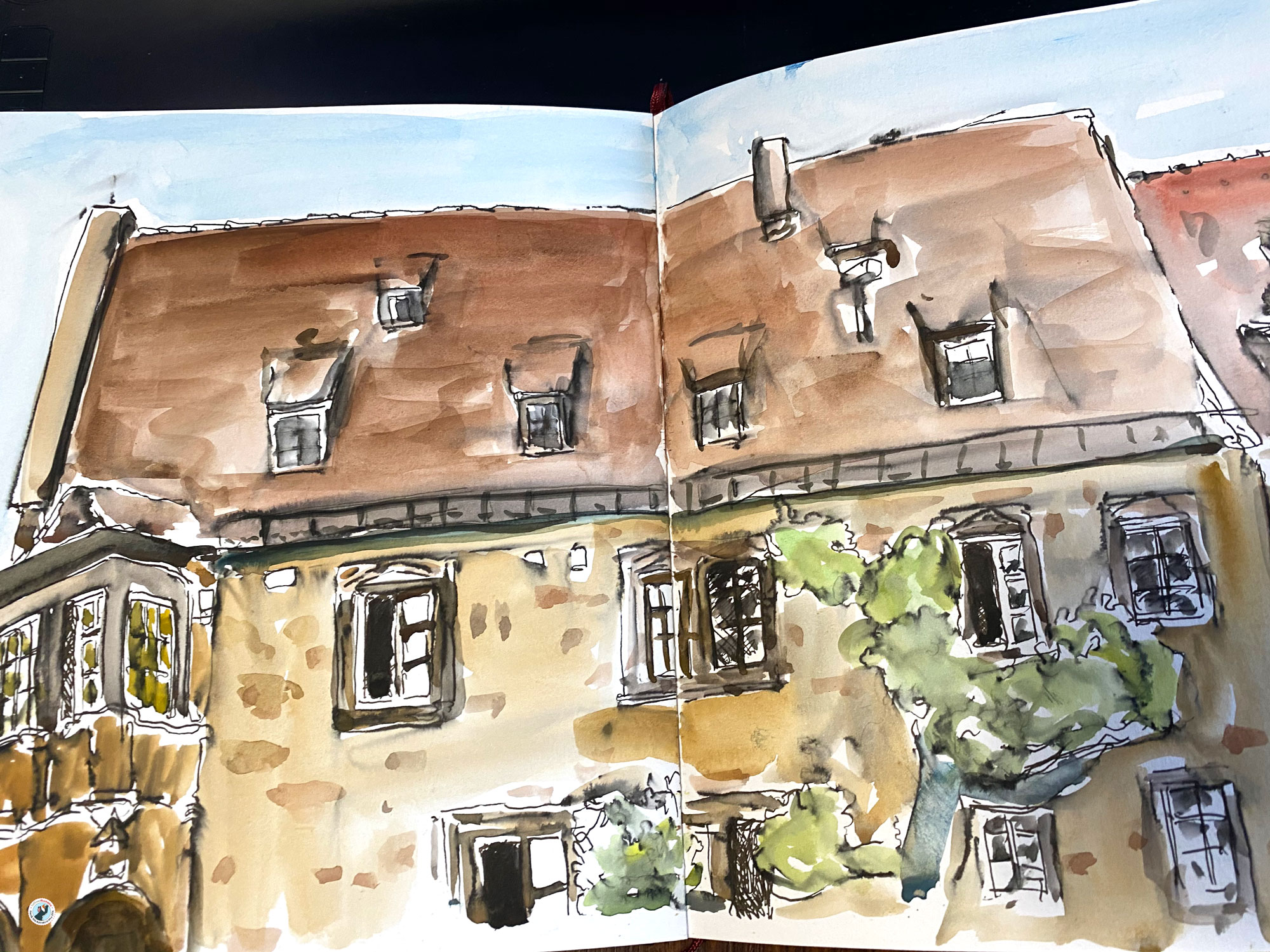 This is an urban sketch of the famous Kätchen of Heilbronn house on the Heilbronner marketplace